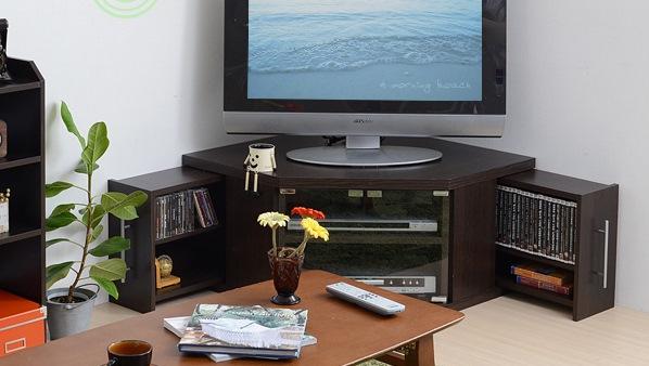 スライド収納庫付コーナーテレビ台